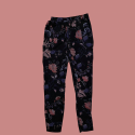 Women's Black Trousers with Floral Pattern Size S