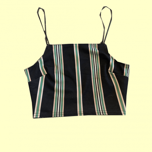 Blue with Patterns Crop Top Size-6 #386