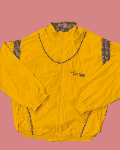 Super Sport yellow and blue check vintage jacket size M #285