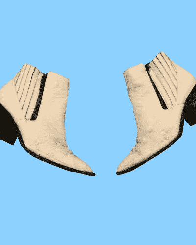 Cream ankle boots with zips in size 6