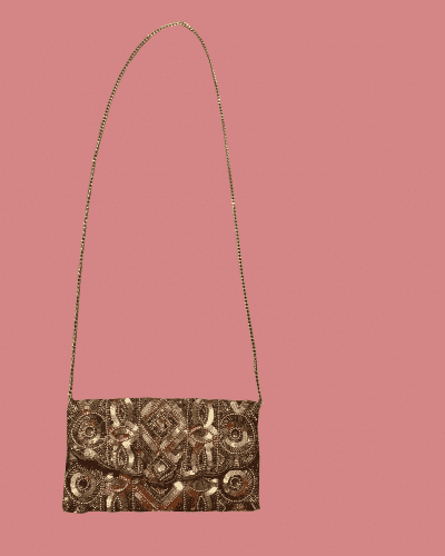 Gold decorated handbag with chain strap
