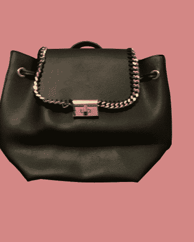 Black leather handbag with gold chain detail and clasp